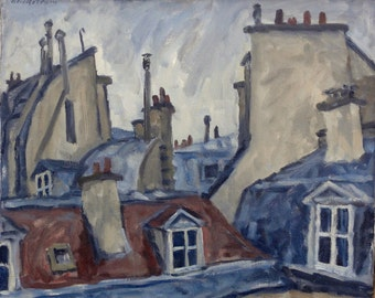 Paris Rooftops, Realist Oil on Canvas, 13x17 Cityscape Oil Painting, Urban Impressionist Landscape Painting, Signed Original Fine Art