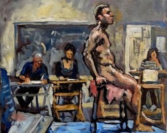 Figure Painting Life Class, Night Studio. 10x10 Original Oil on Canvas, Realist Male Nude Figure Painting, Signed Original Fine Art