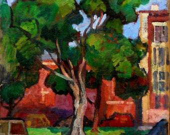 Windy Tree, Washington Park, Albany New York. 18x16 Oil on Canvas, American Impressionist Plein Air Landscape Painting, Signed Original
