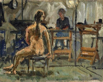 Figure Painting, Night Session, Artist and Model. Orignial 6x8 Oil Painting on Canvas, Female Nude