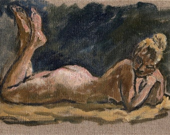 Miss Murphy. Reclining Female Nude, Original 6x9 Realist Oil on Canvas, Classic Impressionist Figure Painting, Signed Original Fine Art