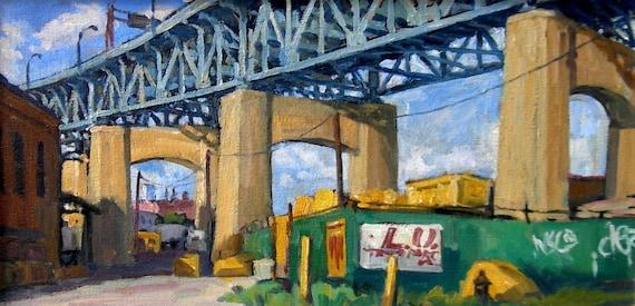 Kosciuszko Bridge, Brooklyn Side. Cityscape Painting, Oil on Canvas, 10x20 Urban Industrial Realist Landscape, Signed Original NYC Fine Art