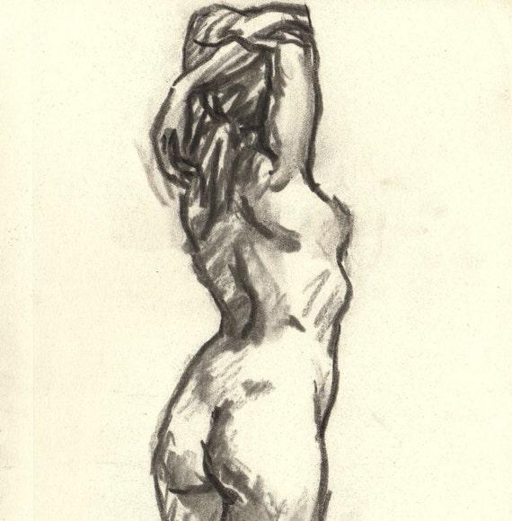 Stretch, Original 6x8 Charcoal Drawing in 9x12 Mat, Classic Female Nude