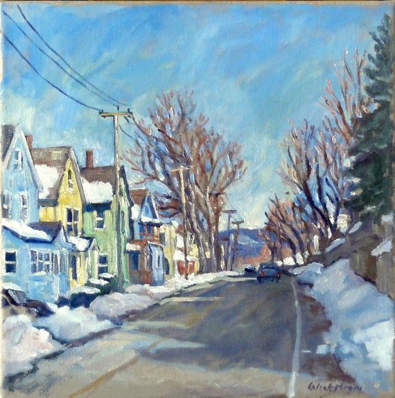 Snow Shine, Berkshires. Realist Oil Painting Landscape on Canvas, 12x12 Plein Air Impressionist Winter Scene, Signed Original Fine Art