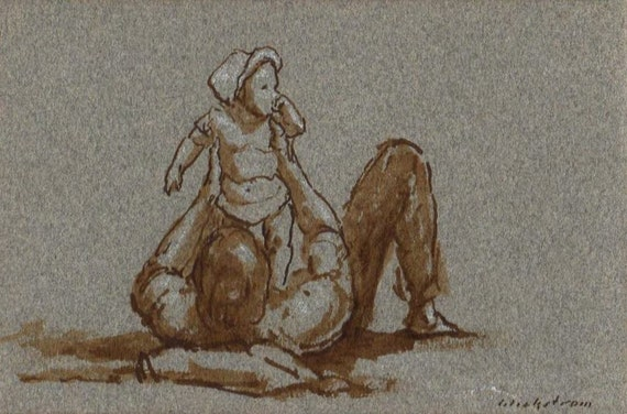 Baby Lift. Original 4x6 Drawing in Sepia Ink and White Chalk