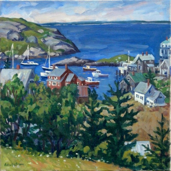 Oil Painting Landscape, From Horn Hill, Monhegan. Original Oil Impressionist Landscape Painting, 20x20 inches