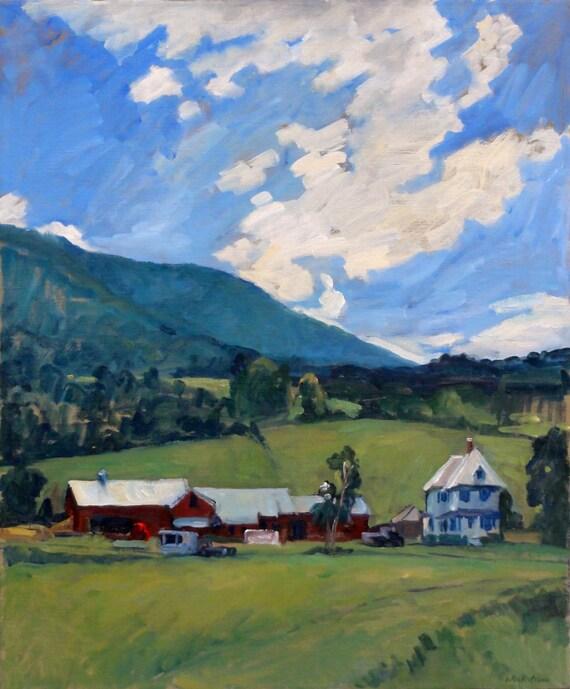 Working Farm, Berkshires. 24x20 Original Oil on Canvas, Large Impressionist Plein Air Fine Art Landscape, Signed Original Painting