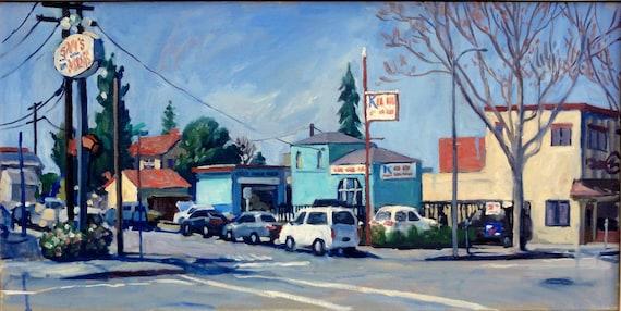 Oil Painting Landscape, California Light. 15x30 Large Impressionist Oil on Canvas, Strip Framed Industrial Landscape Painting