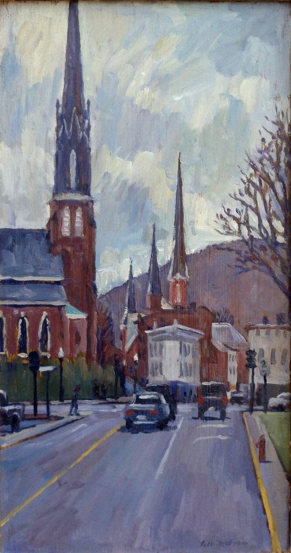 Oil Painting Landscape, Steeples, New England. Original Framed Impressionist Plein Air Landscape