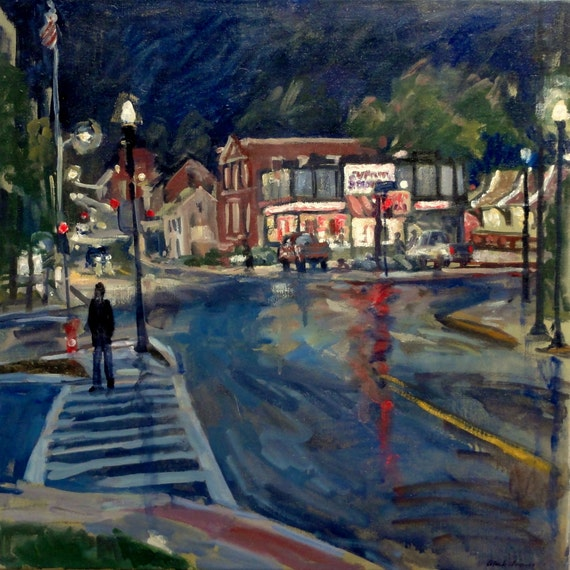 Oil Painting Landscape, Night City Reflections. Original Oil on Canvas, 20x20 Urban Landscape Painting