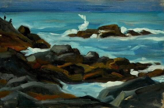Monhegan Surf, Maine. Oil Painting Landscape, 8x12 Original Oil Painting, Small Impressionist Seascape, Signed Original Realist Fine Art