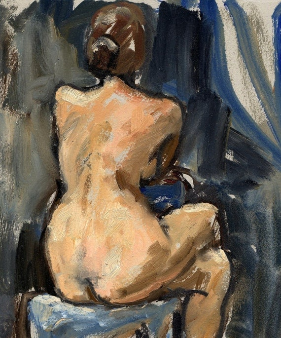 Figure Painting, Female Nude / Back Light. Original Oil, Small Classic Figure Painting