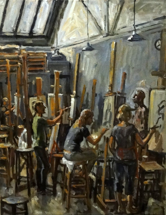 Morning Light, Art Students League of New York. Large Oil Painting on Canvas, 28x22 Realist NYC Studio Interior, Signed Original Fine Art