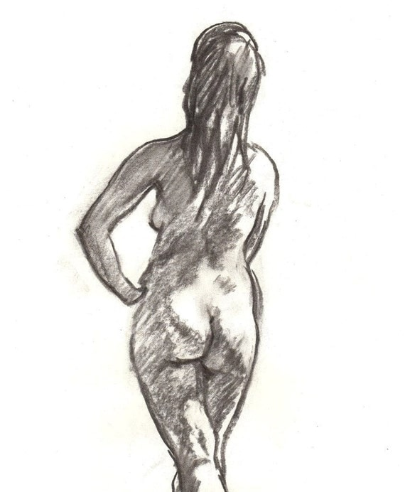 Standing Female Nude, Back. Original Charcoal Drawing, Figure Sketch