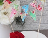 Cake Bunting - SUGAR FLOWERS - A Pretty Fabric Cake Topper, perfect for Weddings, Parties and Baby Showers
