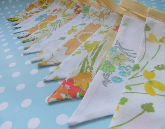 Vintage Fabric Bunting - LEMON DROP - 15 Pretty Party Flags, LONG Banner over 13 feet - Perfect for Weddings, Birthdays or Baby Showers