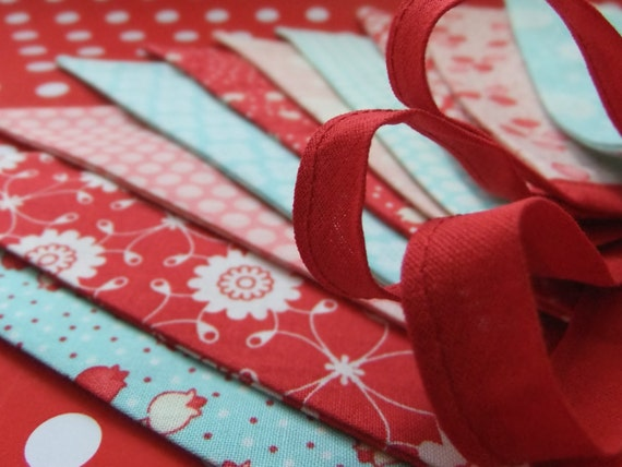 Bright and Cheery Party Bunting in Aqua, Red and Pink - BLISS - 9 Feet PLUS ties, a perfect Photo Prop, Christmas or Party Decoration