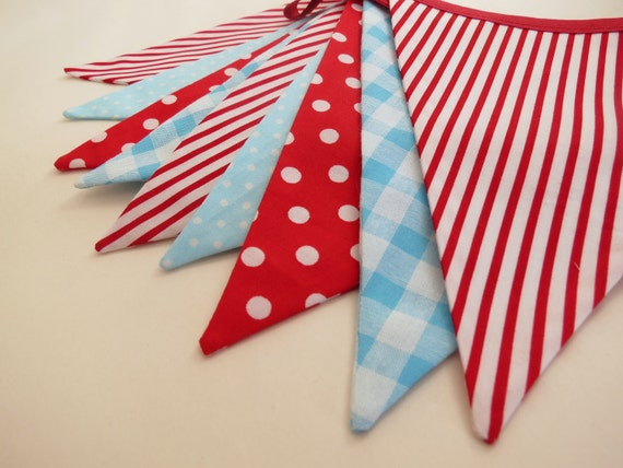 Bright and Cheery Party Bunting - CARNIVAL in Red and Aqua  - 8 Feet Plus ties, perfect for Circus and Carnival themed Birthdays and photo's
