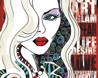 Love Glam Music Desire / original illustration ART Print SIGNED / 8 x 10