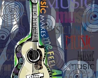 Music Makes Me Feel Alive / original illustration ART Print SIGNED /  8 x 10