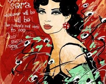 Que Sera Sera / original illustration ART Print SIGNED /  8 x 10