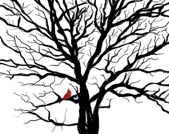 Lucky Red Tree - Part 3 - one lucky cardinal / Signed Art Print / 8 x 10 - landscape