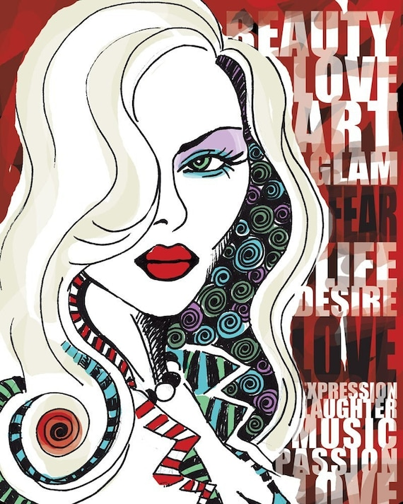 Love Glam Music Desire / original illustration ART Print SIGNED / 8 x 10