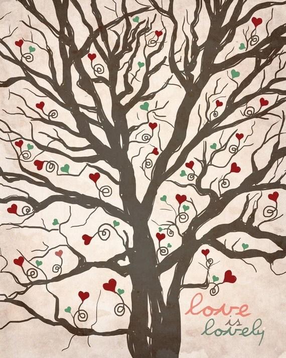 Love is Lovely EtsyXO / original illustration ART Print SIGNED /  8 x 10