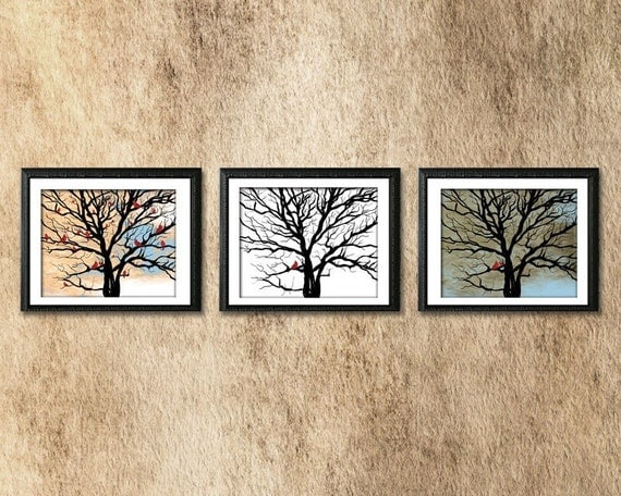 Lucky Red Tree - Print Series / Triptik  - Three 8 x 10 (landscape) Signed Art Prints