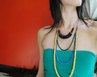 SALE - African Glass Bibb Necklace in Primary Colors