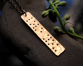 LOVE YOU - brass braille engraved pendant (custom available)