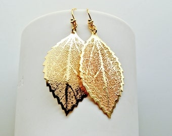 THE FALLEN : Small Gold Leaf Earrings (last 6 pairs, this item has been discontinued)