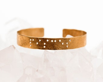 PISCES : Zodiac Braille Engraved Cuff Brass