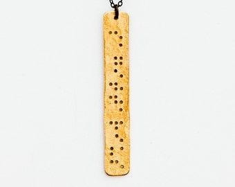 SAGITTARIUS : Zodiac Braille Necklace in Brass