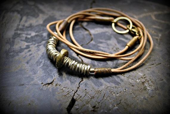 HARMONY DISCS : Natural Leather Wrap Bracelet
