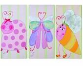 Nursery Wall Art Canvas - Bugs Life - Set Of 3 kids wall decor, Wall Art Canvas for kids