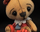 Miniature Quality Handcrafted Woven Wool Two Tone Artist Teddy Bear Belle