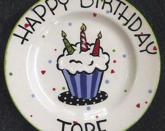 BIRTHDAY PLATE Cupcake plate, cake plate, 1st birthday, happy birthday plate, personalized birthday plate, Ceramic Birthday Plate