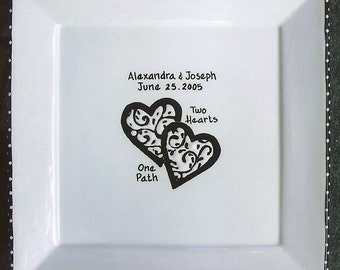 WEDDING GUEST BOOK alternative Guest Book Plate Wedding signature Plate - Hearts