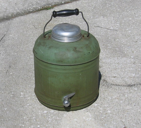 Vintage Metal Cover Crock Gallon Thermos Withspigot