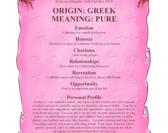 First Name Origin and Meaning Gift Scroll Personalized Digital PDF