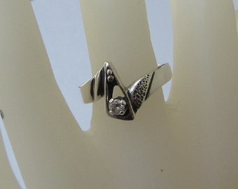 Sterling Silver Ring with Clear Stone - Vintage