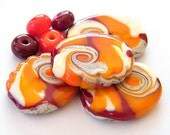 BINDU- 4 Lampwork beads / pendants and 4 round spacers in hot colors