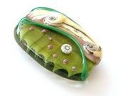 Handmade focal bead -  focal Lampwork bead / pendant in green and ivory