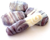 Bindu - Soft Colors ivory gray and transparent purple Lampwork beads / pendants (4)