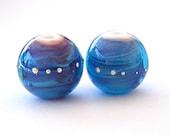Deep and Glitter round lampwork beads - ocean blue (2)