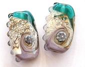 Organic, Handmade Lampwork Focal Bead/ pendants (2) by bindu in fresh colors
