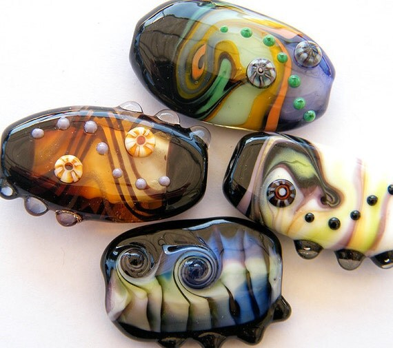 Orphans SALE- 4 Lampwork beads / pendants in dramatic colors