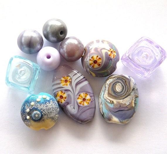 Reserve for Aurore -  Lavender Orphans SALE- 10 Lampwork beads / pendants