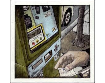 Parking Kiosk print of an original painting